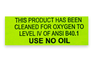 Instrument Oxygen Cleaning Sticker